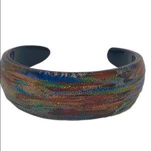 Vintage Murano Aventurine Glass Cuff Bracelet